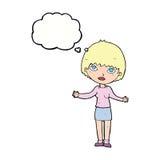 femme de bande dessinée gesticulant avec la bulle de pensée illustration stock