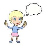 femme de bande dessinée mangeant des hot dogs avec la bulle de pensée Photo stock