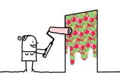 Femme de bande dessinée peignant Cherry Patterned Wall illustration de vecteur
