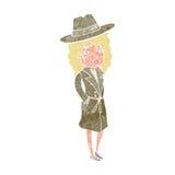 femme de bande dessinée utilisant le chapeau raisonnable illustration de vecteur