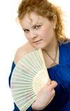 Femme de beauté avec le ventilateur Photographie stock