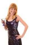 Femme de beauté avec le vermouth en verre Photos libres de droits