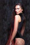 Femme de beauté avec les cheveux humides et le maquillage naturel Image libre de droits