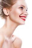 Femme de beauté Belle jeune femelle Portrait d'isolement sur le fond blanc Soins de santé Peau parfaite Photographie stock libre de droits