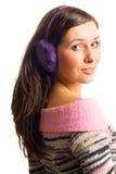 Femme de beauté dans les heaphones Photos stock