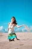 Femme de beauté sur la plage Images libres de droits
