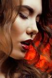 Femme de beaut? avec la fin parfaite de maquillage  Image stock