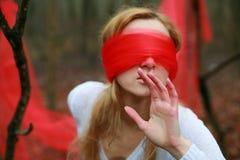 Femme de Blinfolded photographie stock libre de droits