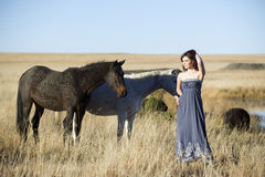 Femme de Bohème dans le domaine avec des chevaux Photo stock