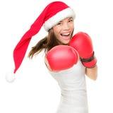 Femme de boxe de Noël photographie stock