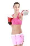 Femme de boxeur de sport Kick boxing de formation de fille de forme physique Photographie stock