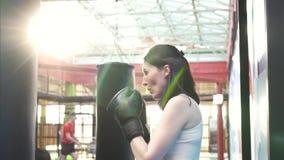 Femme de boxeur faisant quelques séances d'entraînement sur un sac de sable dans le gymnase Fermez-vous vers le haut du MOIS lent banque de vidéos