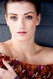 Femme de brune de portrait avec des yeux bleus Image libre de droits