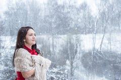 Femme de brune sous des chutes de neige photographie stock