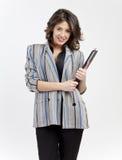 Femme de bureau avec la planchette Photos stock