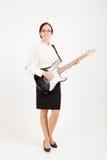 Femme de bureau jouant sur la guitare Photographie stock