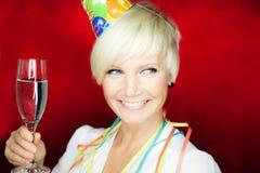 Femme de célébration de réception Photographie stock