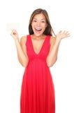 Femme de carte de cadeau dans la robe rouge image libre de droits