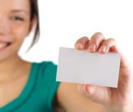 Femme de carte de visite professionnelle de visite Images stock