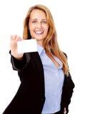Femme de carte de visite professionnelle de visite photographie stock