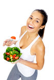 Femme de casse-croûte de salade Images libres de droits
