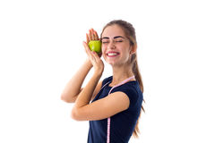 Femme de centimètre tenant une pomme Images libres de droits