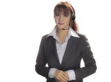 Femme de centre d'appels, femme de sourire d'affaires, service client Agen Image libre de droits