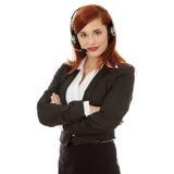 Femme de centre d'attention téléphonique Photographie stock