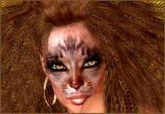 Femme de chat, avec le maquillage de chat et la coiffure Photographie stock libre de droits