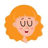 Femme de cheveux assez blonds, expression du visage riante illustration libre de droits