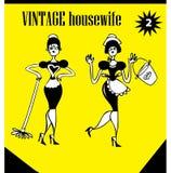 Femme de clipart (images graphiques) de cru de griffonnages essuyant des icônes de /advertising, backg illustration libre de droits