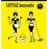 Femme de clipart (images graphiques) de vintage de griffonnages essuyant des icônes de /advertising, backg Photos libres de droits