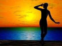 femme de coucher du soleil de plage Illustration Stock