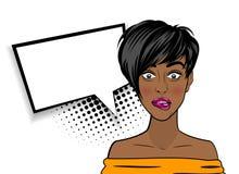 Femme de couleur sexy choquée d'Afro-américain d'art de bruit Photo stock