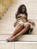 Femme de couleur sur des opérations Photo libre de droits