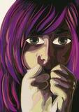 Femme de crainte Art contemporain watercolor Image stock