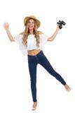 Femme de cri heureuse avec des jumelles Photo libre de droits