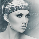 Femme de cyborg photographie stock