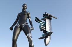 Femme de cyborg - humanoïde avec le véhicule de la science fiction illustration stock