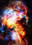 Femme de déesse dans l'espace cosmique Fond cosmique de l'espace Images stock