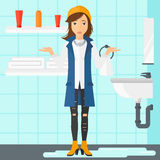 Femme de désespoir se tenant près de l'évier disjoint illustration de vecteur