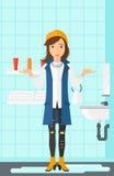 Femme de désespoir se tenant près de l'évier disjoint illustration libre de droits