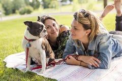 Femme de deux amis avec le chien de terrier dehors au parc Image stock
