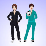 Femme de deux sports avec du ballon de football photos stock