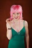 Femme de disco avec le cheveu rose Photo stock