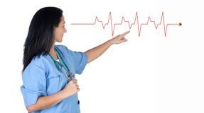 Femme de docteur indiquant un électrocardiogramme Photos libres de droits