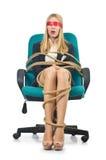 Femme de femme d'affaires attachée avec la corde Photo libre de droits