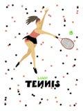 Femme de fille de joueur de tennis avec l'illustration ? main lev?e de vecteur de raquette et de boule illustration stock
