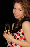femme de fixation de champagne photo stock