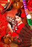 Femme de flamenco avec le toréador et l'Espagne typique Espana Photos stock